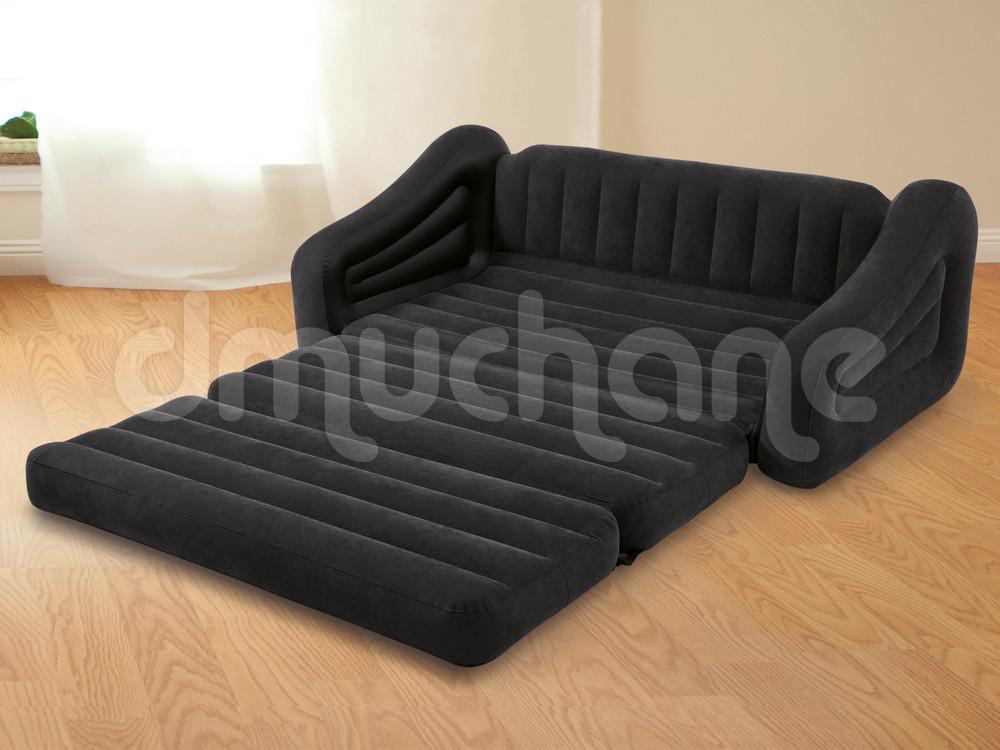 Duża Sofa 2w1 łóżko Dwuosobowe 193 X 221 X 66 Cm Intex 68566